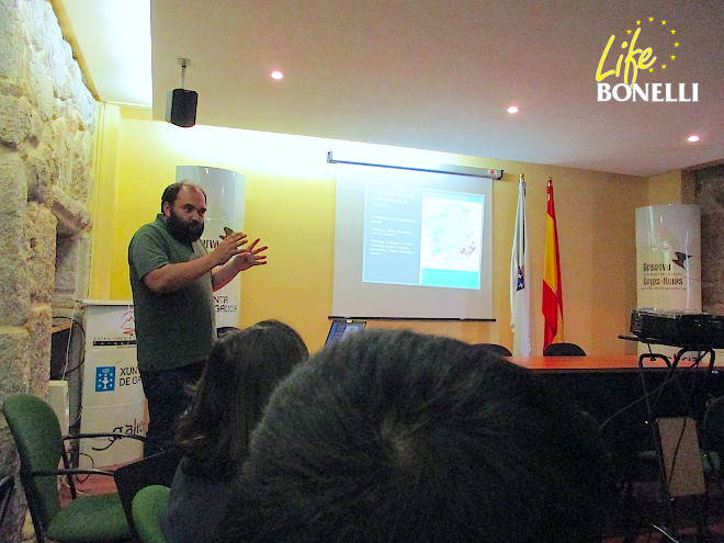Alberto Gil, responsible for the reintroduction of the Golden Eagle in Galicia, sharing the key aspects of his project with the technicians of Life Bonelli.