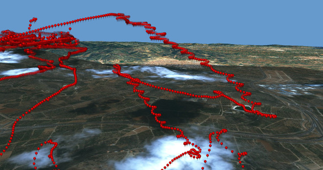 Details of the movement (circling to gain height) in 3D based on one localization per second received by a transmittor carried by the male specimen of the couple marked in the National Park of  Serra de Espadán (image by kind permisson of Pascual López, University of Alicante).